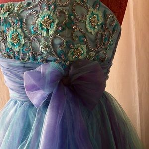 Neblon Dresses - Strapless Blue Prom Dress